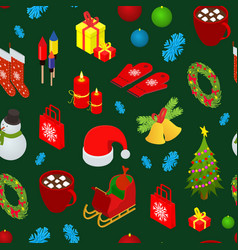 christmas celebration seamless pattern background vector image