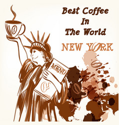coffee poster with statue liberty holding cup vector image