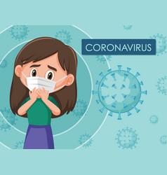 Coronavirus diagram with girl wearing mask vector