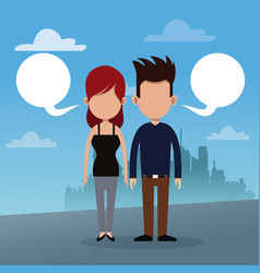couple bubble speech urban background vector image