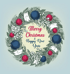 cristmas wreath with fir branches balls and vector image
