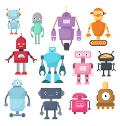 Cute cartoon robots android and spaceman cyborg vector