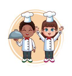 cute chef kids cartoon vector image