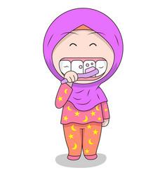 Cute muslim children - brushing teeth fun daily vector