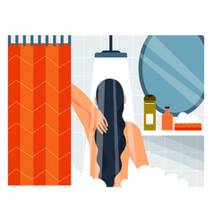 Daily life woman taking a shower vector