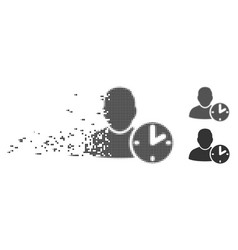 Disappearing pixel halftone user time icon vector