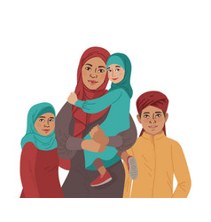 family portrait middle eastern muslim people vector image