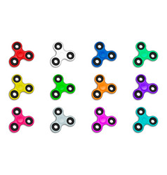 Fidget spinner in defferent colors collection set vector