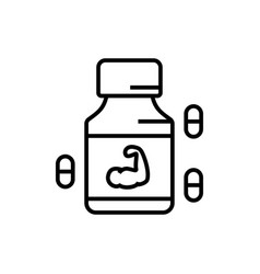 Fitness protein supplement icon with pill symbol vector