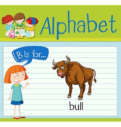 Flashcard letter B is for bull vector image