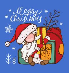 Funny crazy santa new year hand drawn vector