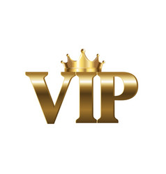 Golden vip sign isolated white background vector