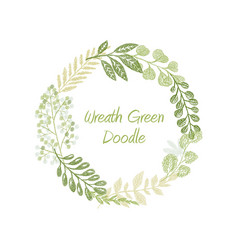 green doodle circle wreath vector image