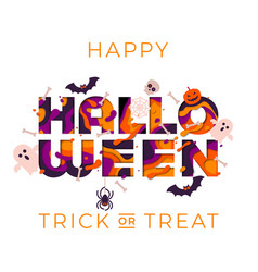 Halloween greeting card template papercut text vector