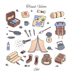 Hand drawn camping set with tent map compas vector
