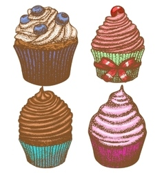 Hand-drawn cupcake set vector