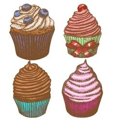 hand-drawn cupcake set vector image