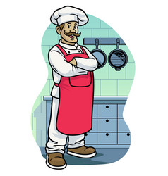 Happy chef crossed arm posing iin kitchen vector