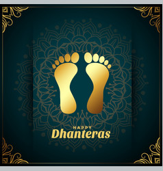 Happy dhanteras background with golden god feet vector