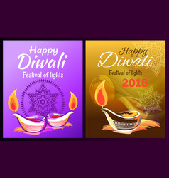 happy diwali festival of lights 2018 poster vector image