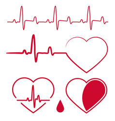 Heart cardiogram wavesheartbeat graph red sign vector