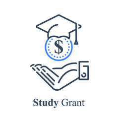 Human hand and graduation cap study grant vector