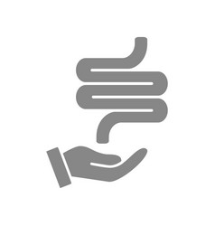 human intestine on hand grey icon disease vector image