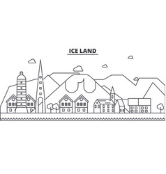 Iceland architecture line skyline vector