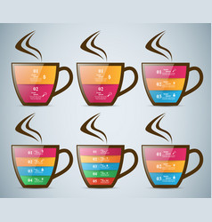 Infographics cup of hot tea with smoke vector