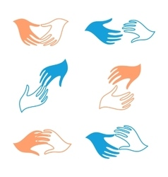 Isolated abstract human hands logo set vector image