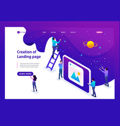 isometric development and creation of a website vector image