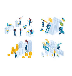 Isometric set concept working documents signing vector