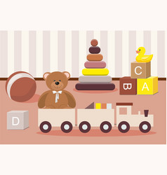 kids toys concept teddy bear and clorful toys vector image
