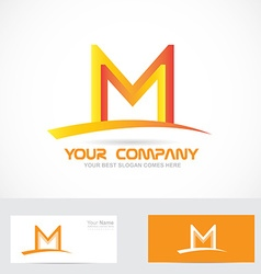 Letter M orange 3d logo vector image