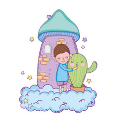 little boy with cactus kawaii character vector image