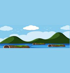 log in the lake landscape vector image