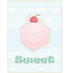 Lovely cake - Vintage Card Design vector