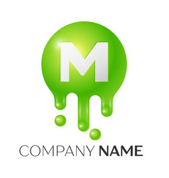 m letter splash green dots and bubbles letter vector image