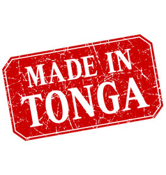 Made in tonga red square grunge stamp vector