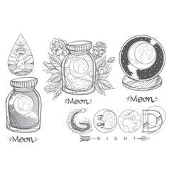 Moon in a glass jar beautiful inscription good vector