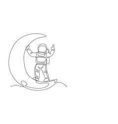 One continuous line drawing cosmonaut exploring vector