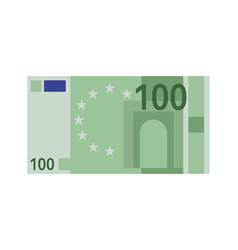One hundred euro banknote green paper 100 vector