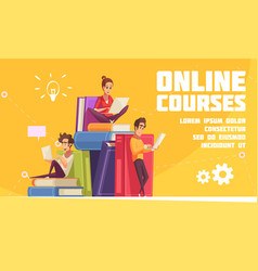 online courses cartoon advertising vector image