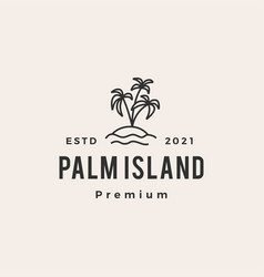 palm tree island hipster vintage logo icon vector image