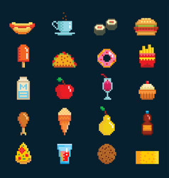 Pixelart fast food icons sign computer game vector