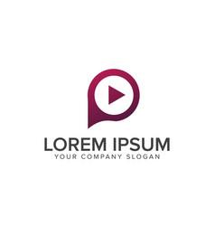 Play letter p logo media logo design concept vector