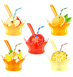 pouring juice splash with fruits 3d realistic set vector image