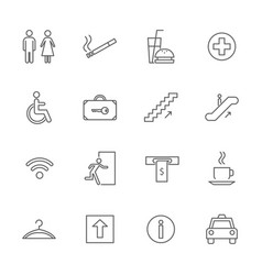 public navigation signs black thin line icon set vector image