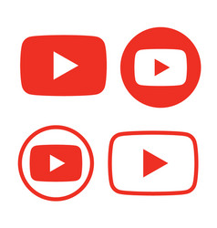 Red and black play button icon vector