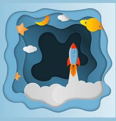 rocket launch paper art style vector image